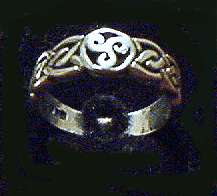 Little ring with triskel and celtic knot
