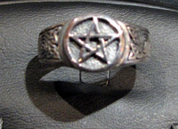 Pentacle with spirals ring