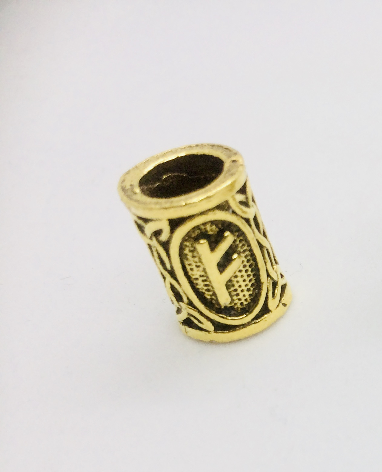 Bronze Beard Ring Fehu Rune